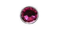 3mm Buttons Fuchsia with Silver Bezel 20pk - Crystaletts
