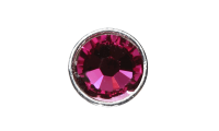 3mm Buttons Fuchsia with Silver Bezel 100 pk - Crystaletts