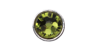 3mm Buttons Olivine with Silver Bezel 20pk - Crystaletts