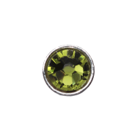 3mm Buttons Olivine with Silver Bezel 100 pk - Crystaletts
