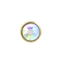 3mm Buttons Crystal AB with Gold Bezel 100pk - Crystaletts