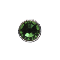 3mm Buttons Fern Green with Silver Bezel 100 pk - Crystaletts