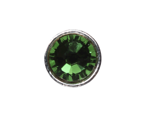 3mm Buttons Fern Green with Silver Bezel 20pk - Crystaletts